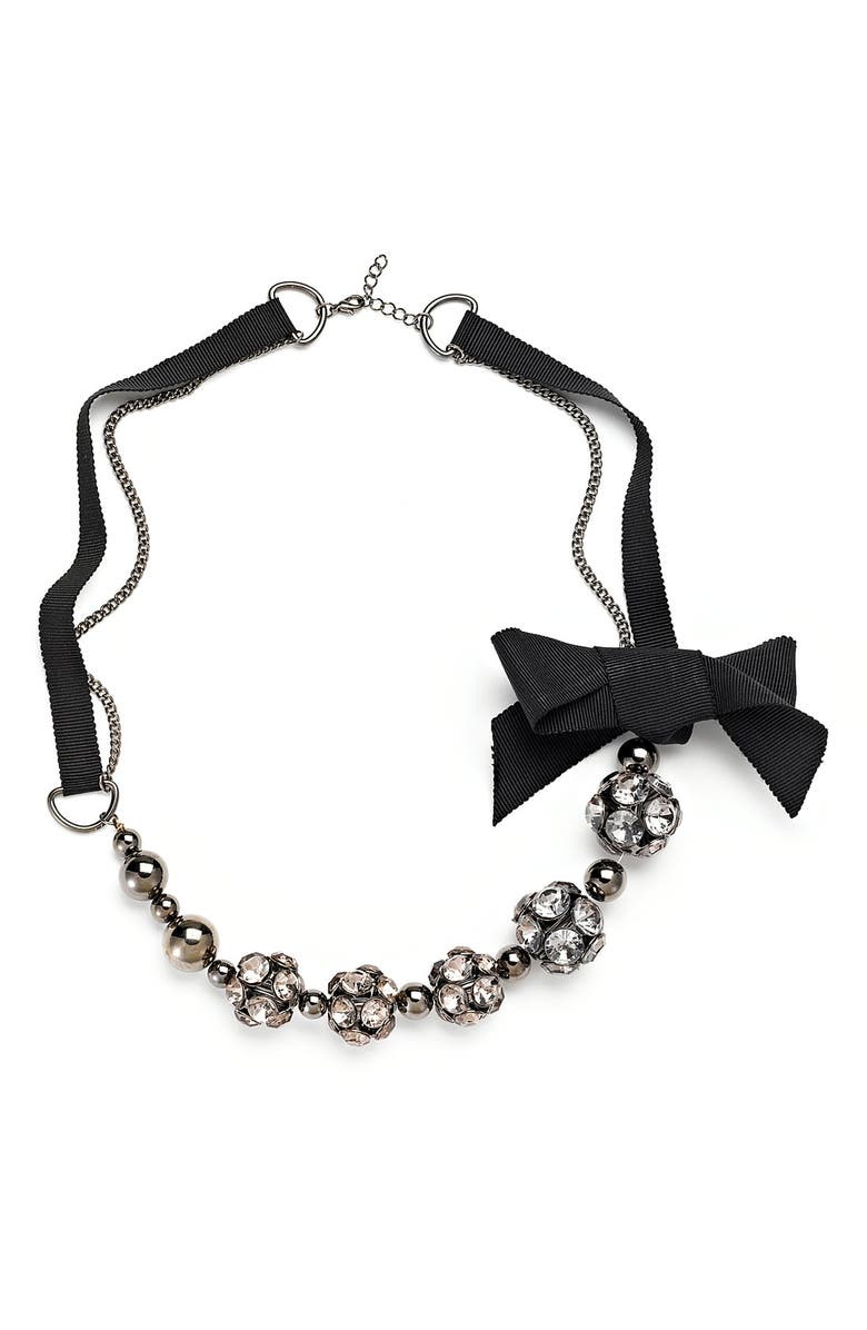 CARA Accessories Crystal & Bow Necklace, Main, color, 001