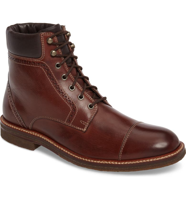 J&M 1850 Forrester Cap Toe Boot, Main, color, MAHOGANY LEATHER