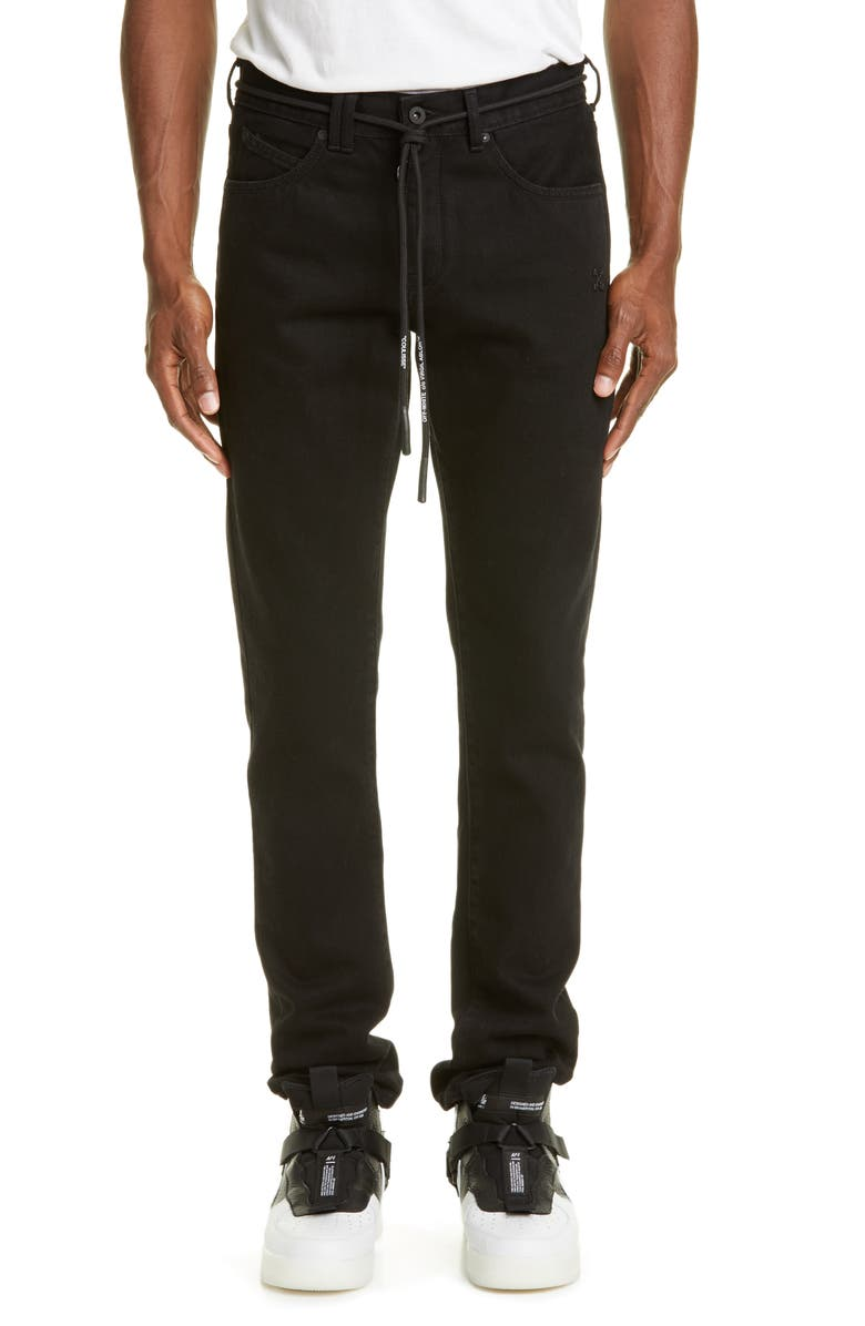 OFF-WHITE Slim Fit Jeans, Main, color, BLACK