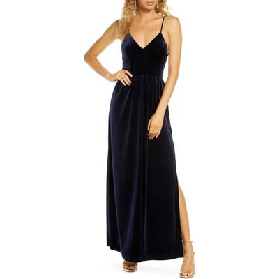 Lulus Final Song Strappy Back Velvet Gown, Blue