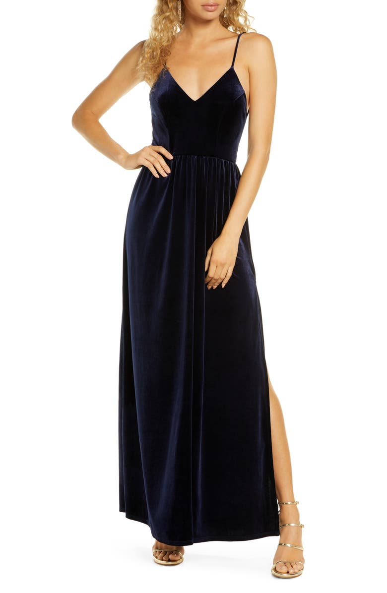 LULUS Final Song Strappy Back Velvet Gown, Main, color, NAVY