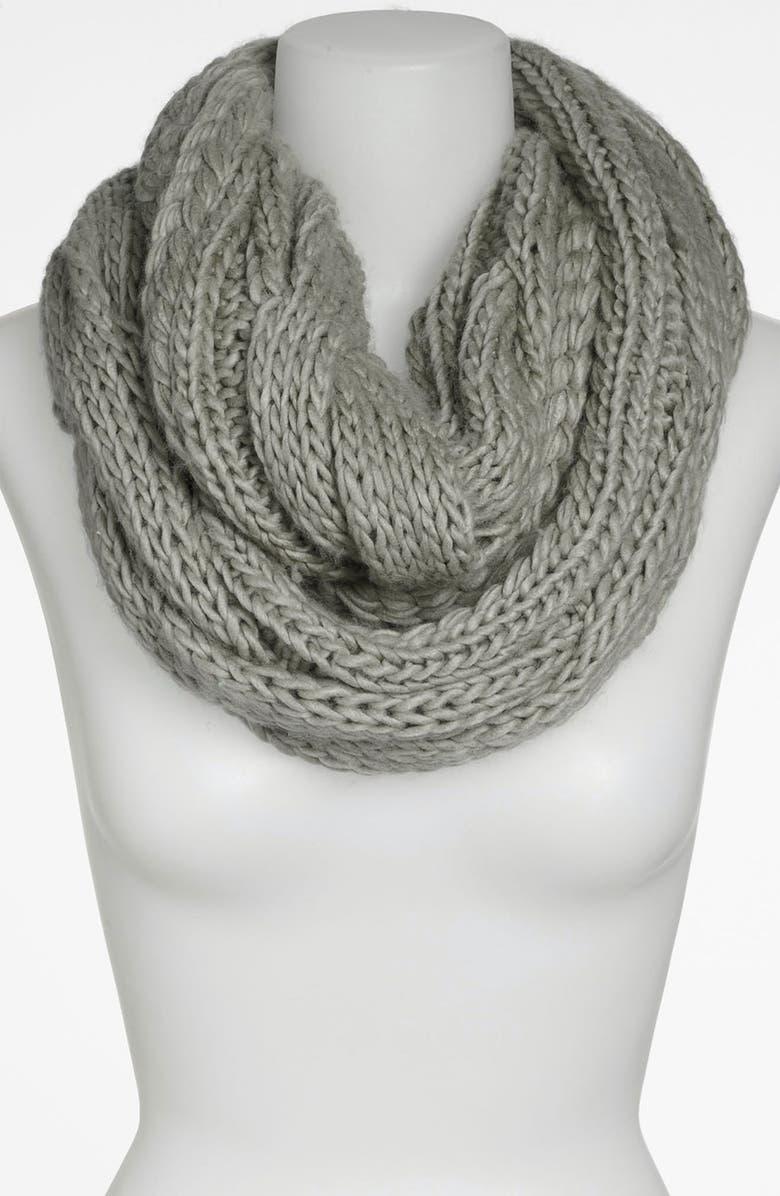 BP. Chunky Knit Infinity Scarf, Main, color, HEATHER GREY