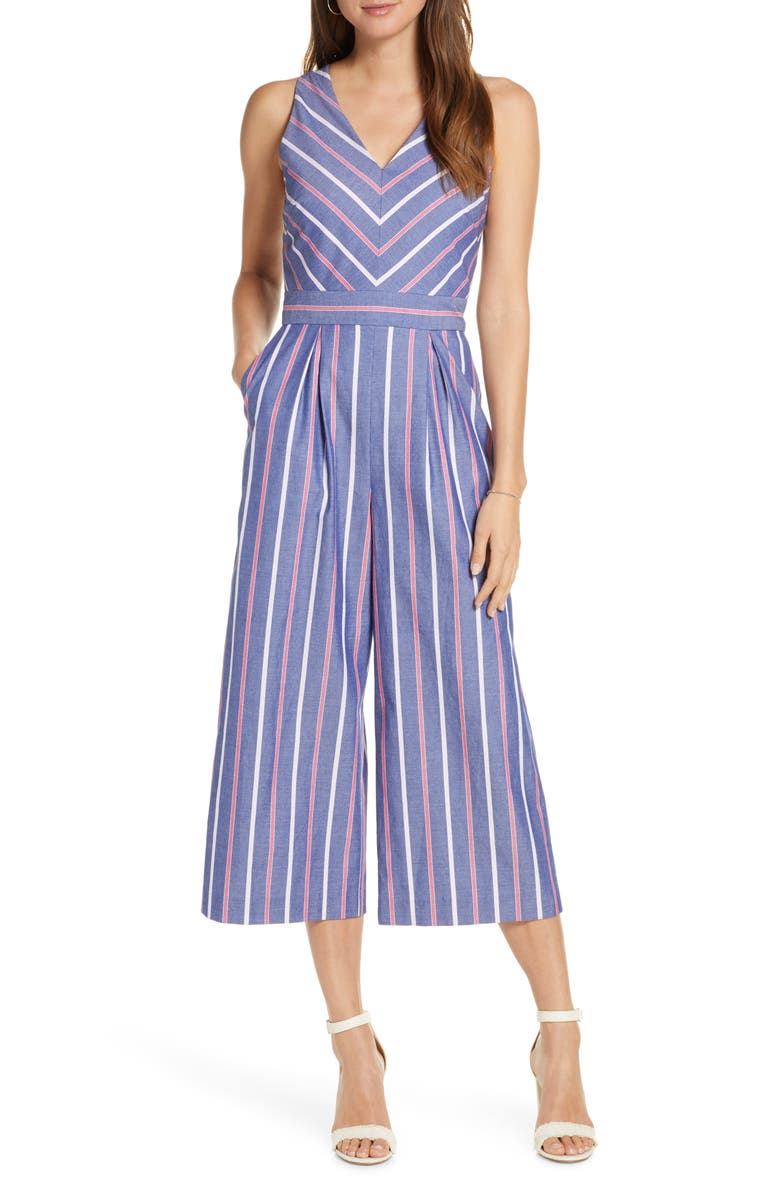 1901 Chevron Stripe Sleeveless Jumpsuit, Main, color, 420