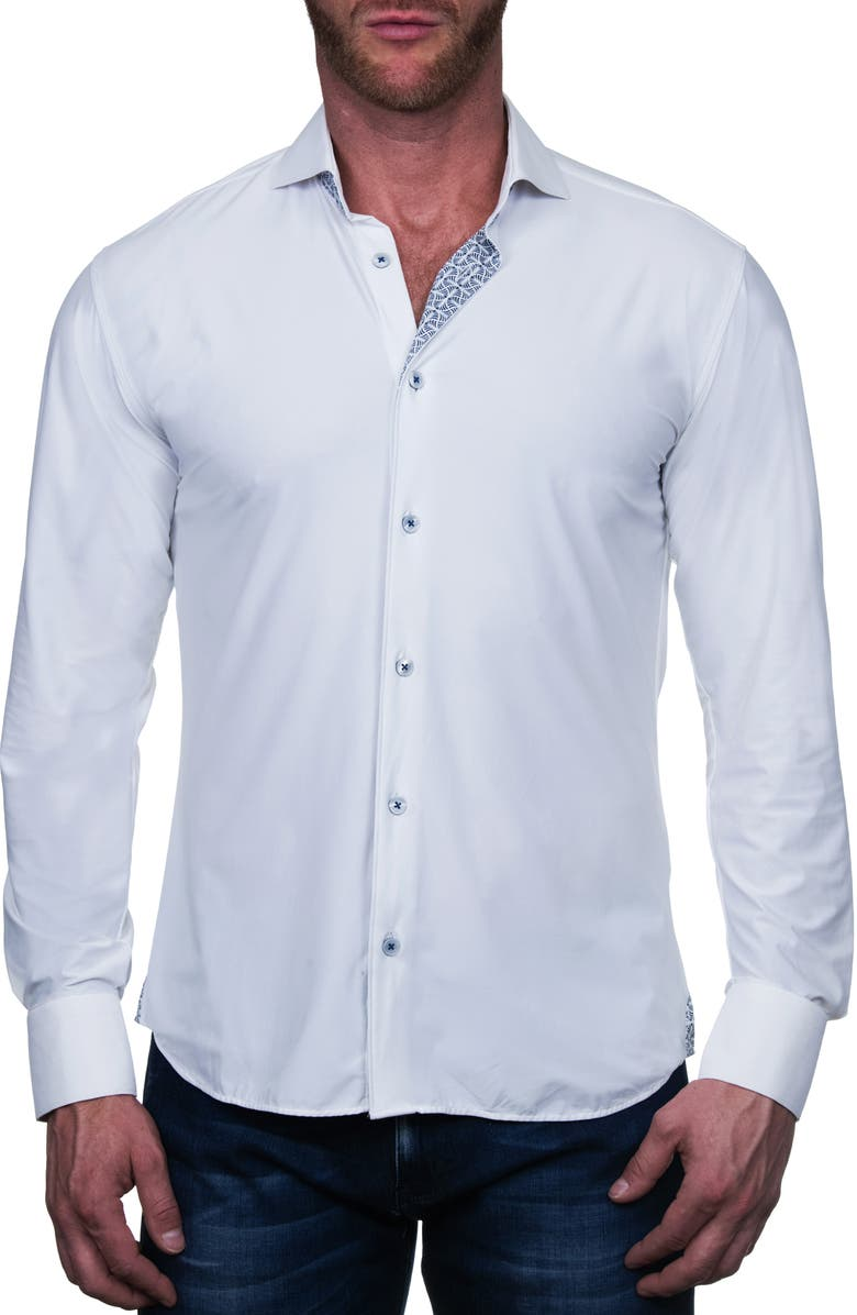 MACEOO Einstein Regular Fit Perforated Button-Up Shirt, Main, color, WHITE