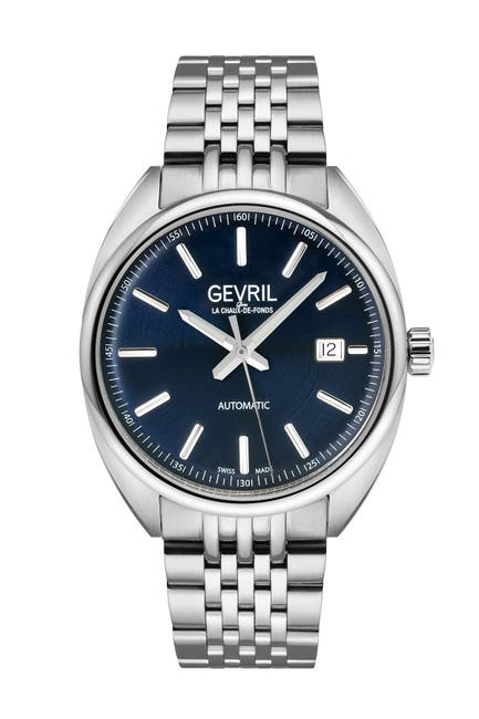 Image of Gevril Men's Five Points Blue Dial Stainless Steel Watch, 44.5 mm