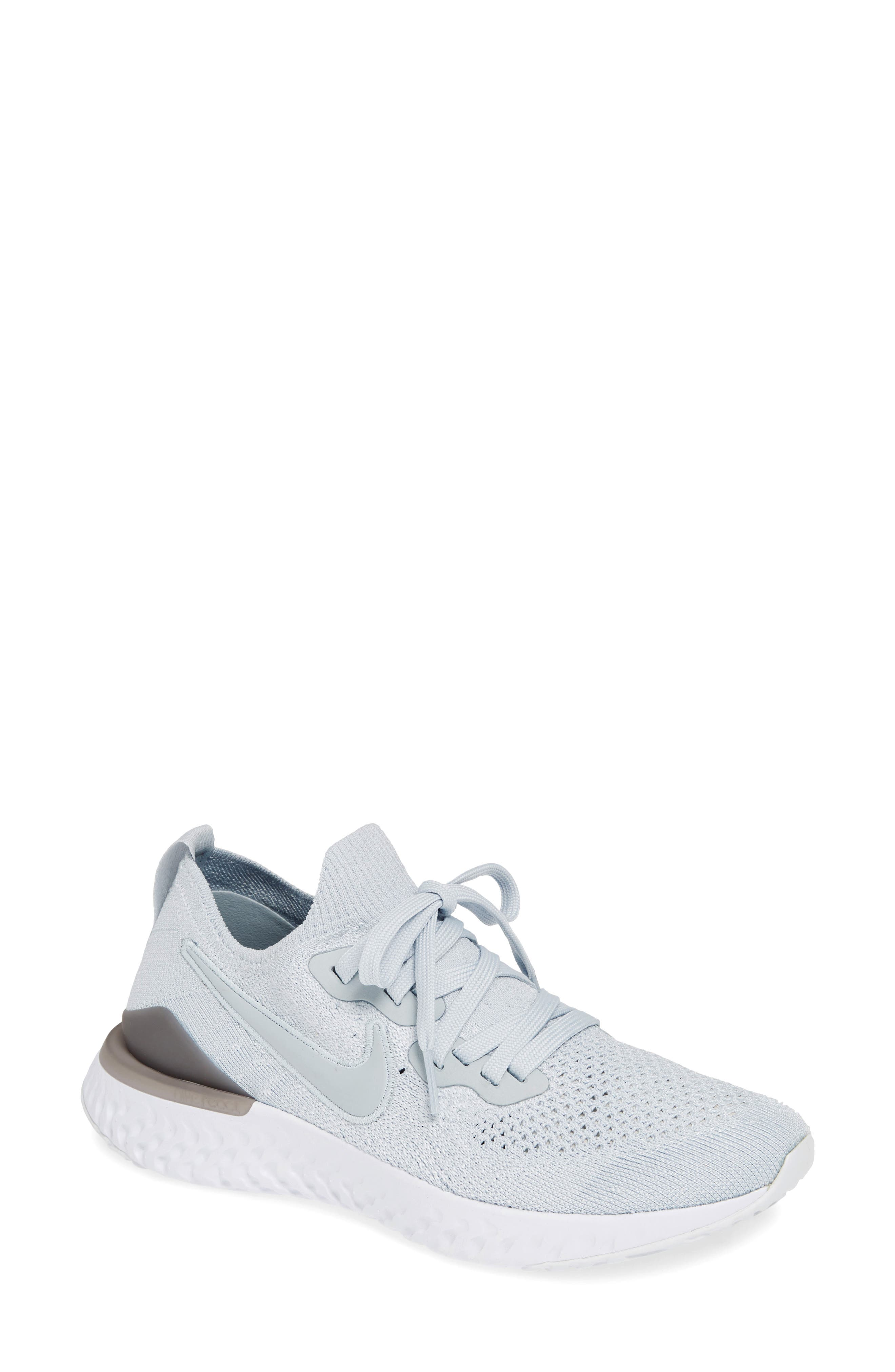 ,                             Epic React Flyknit 2 Running Shoe,                             Main thumbnail 1, color,                             PURE PLATINUM/ WOLF GREY