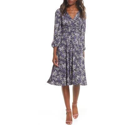 Eliza J Print Fit & Flare Dress, Purple