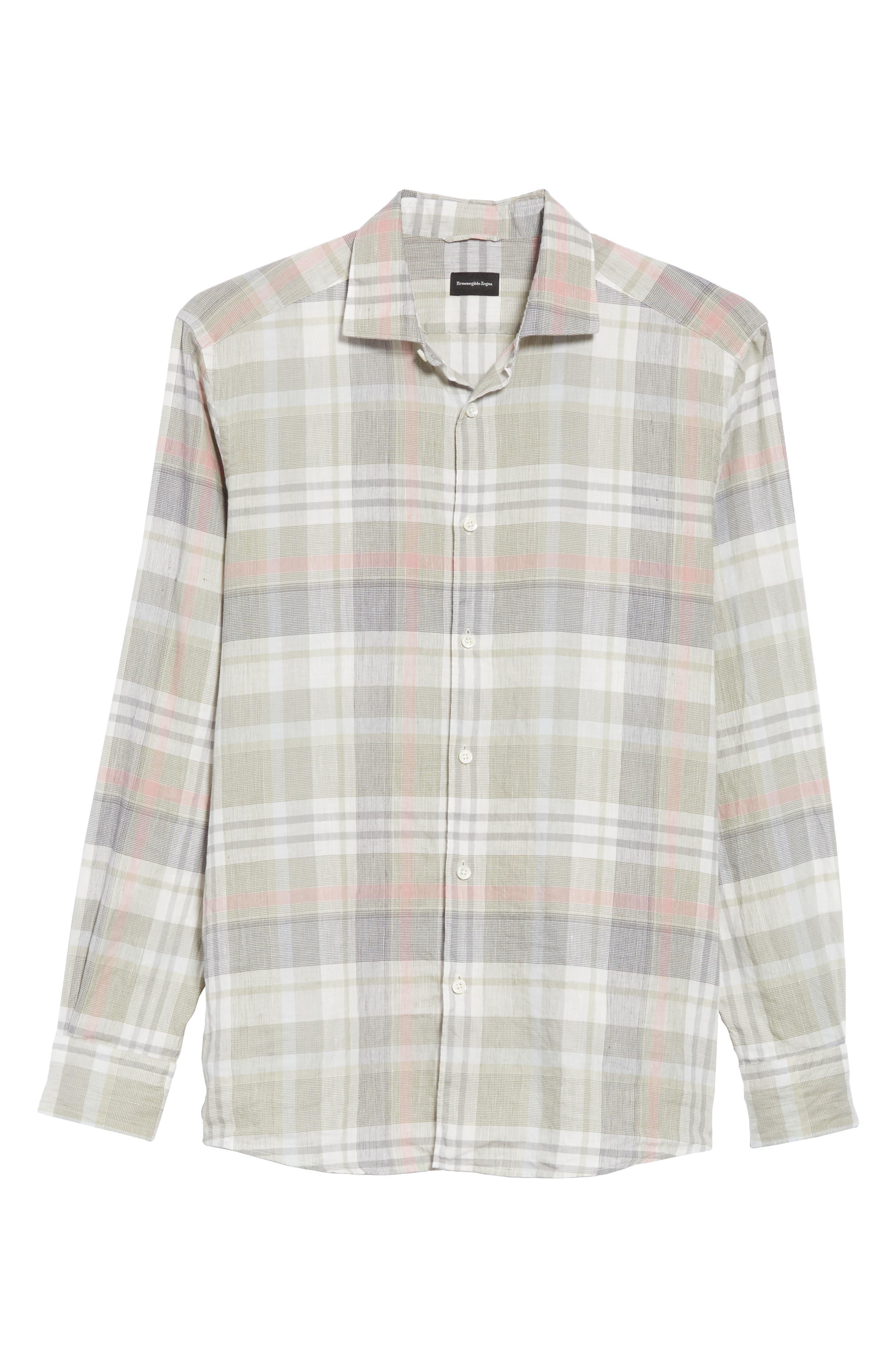 ,                             Slim Fit Plaid Linen & Cotton Sport Shirt,                             Alternate thumbnail 5, color,                             SAGE