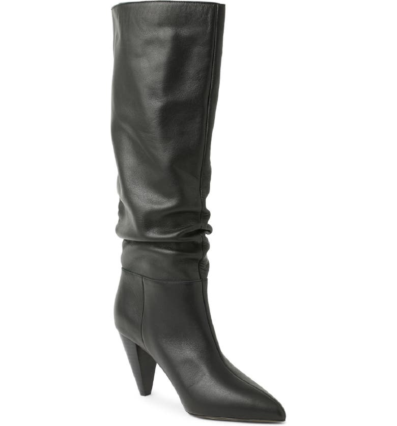 KENSIE kensi Kalani Knee High Boot, Main, color, BLACK LEATHER