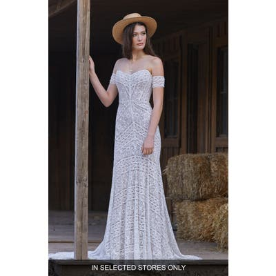 Willowby Nala Off The Shoulder Lace Wedding Dress, Size - Ivory