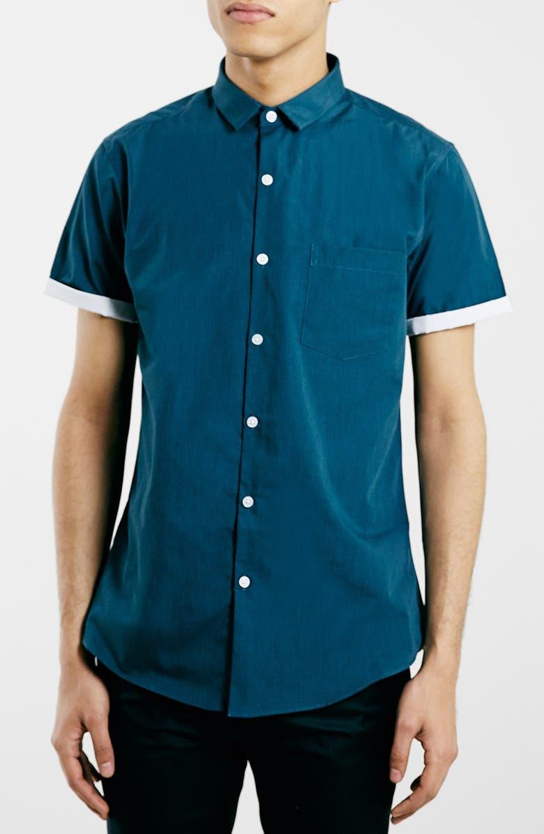 TOPMAN Slim Fit Short Sleeve Shirt, Main, color, 440