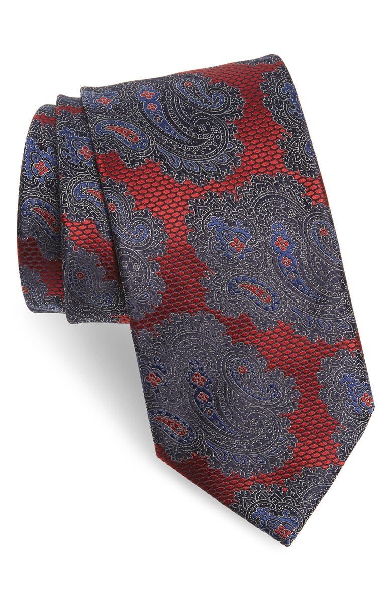 ERMENEGILDO ZEGNA Paisley Silk X-Long Tie, Main, color, MED RED FAN