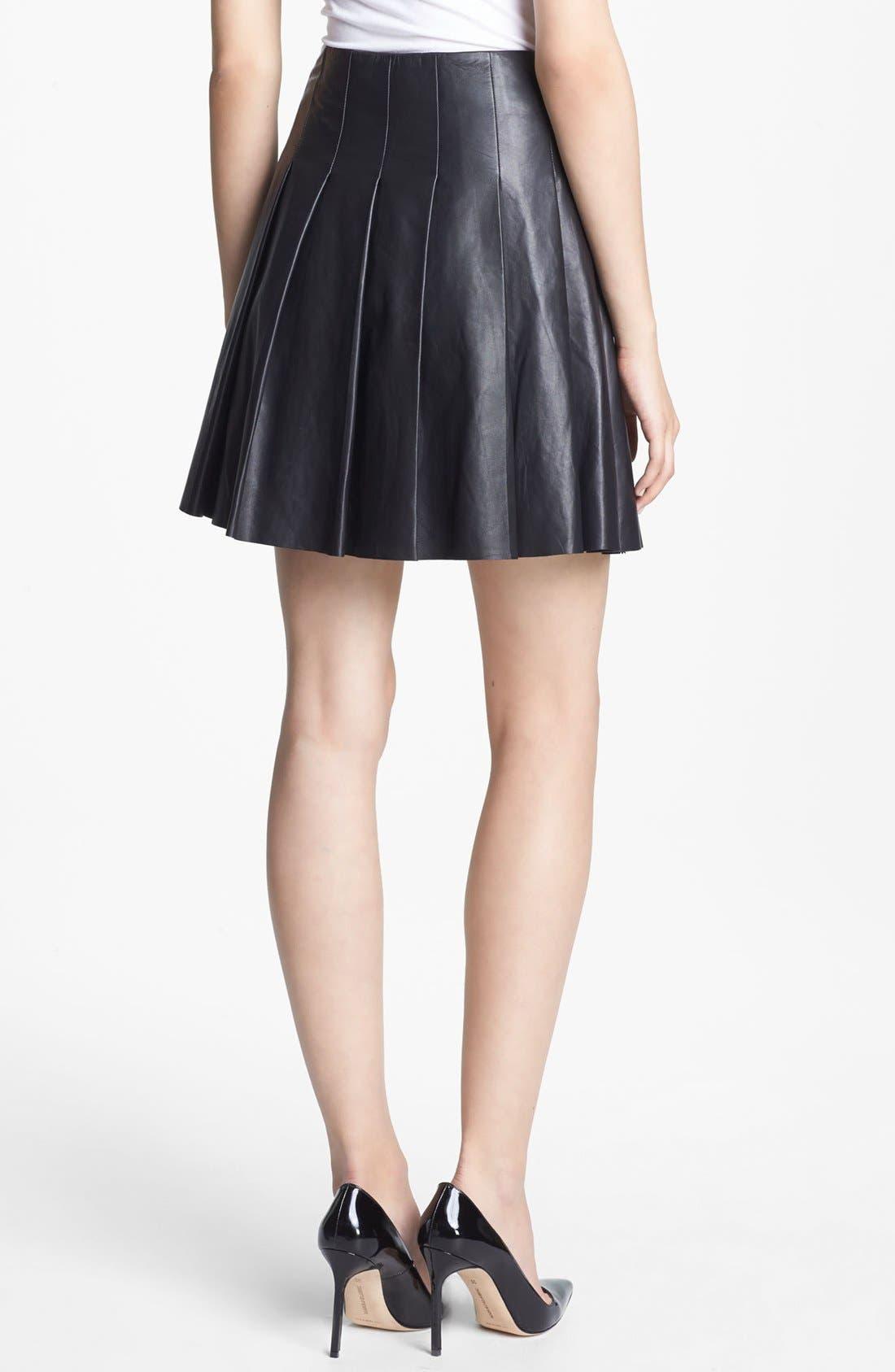 ,                             Pleated Leather Skirt,                             Alternate thumbnail 5, color,                             001