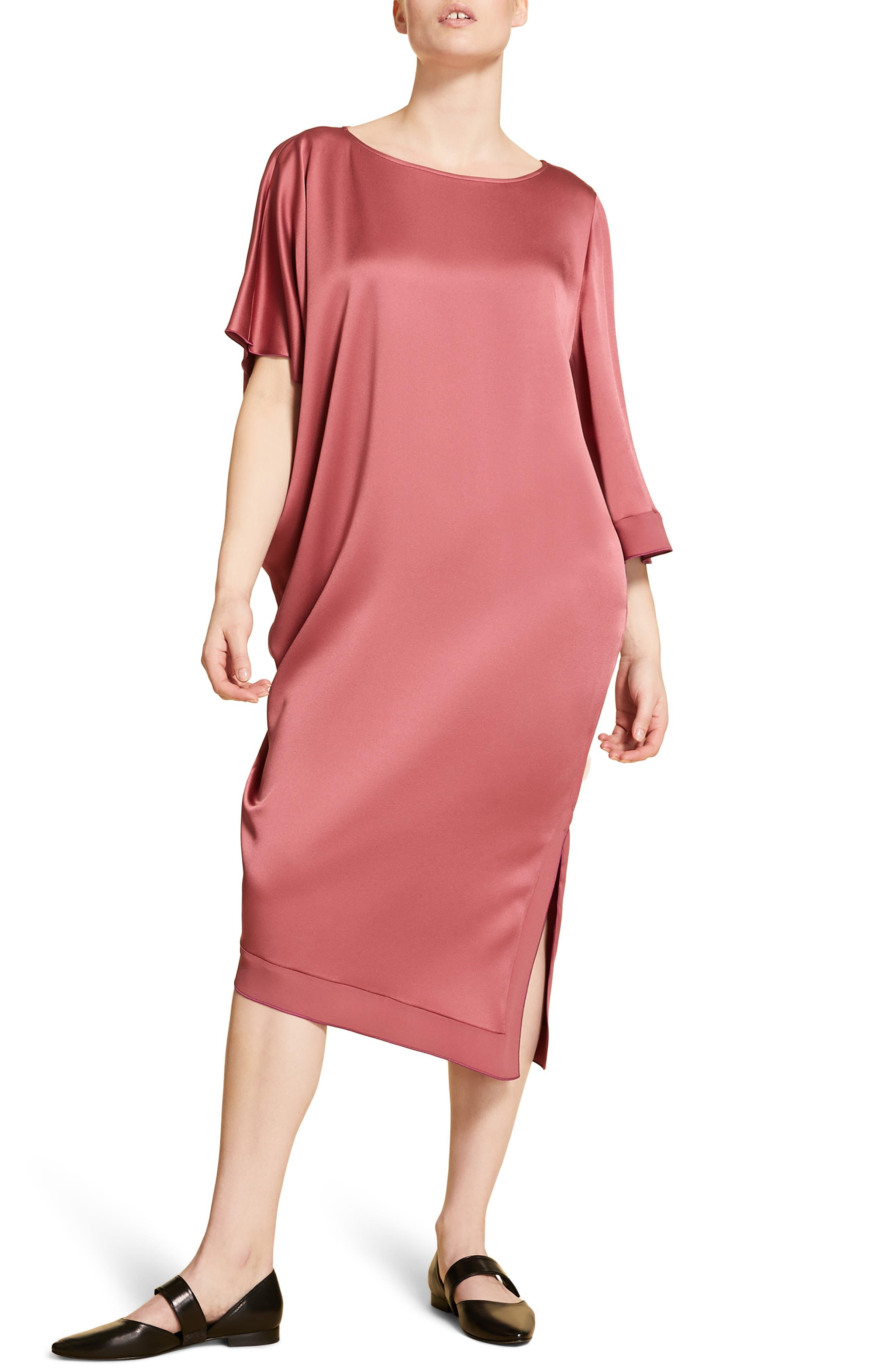 Plus Size Marina Rinaldi Divinita Asymmetrical Dress, Burgundy