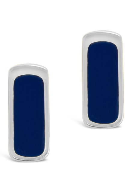 Image of Sterling Forever Rhodium Plated Blue Enamel Bar Studs