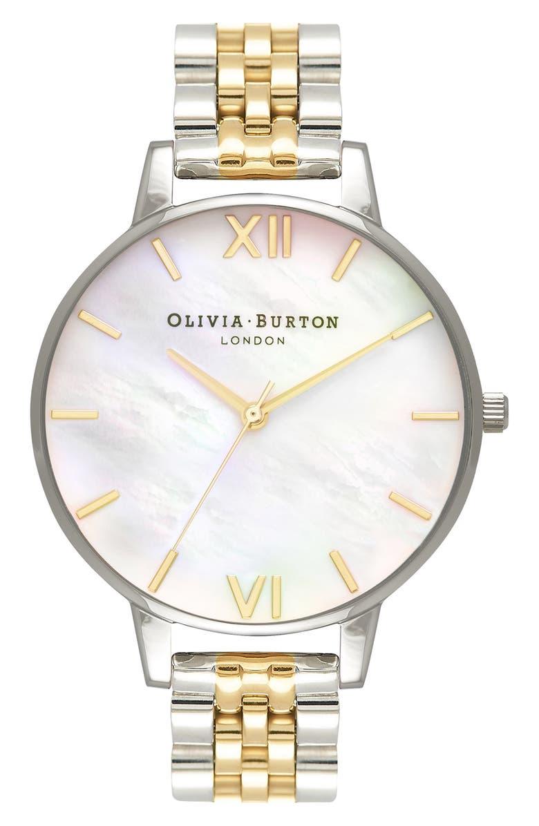 OLIVIA BURTON Bracelet Watch, 38mm, Main, color, SILVER/ MOP/ GOLD