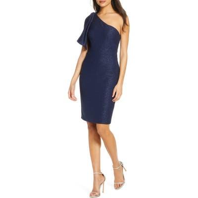 Eliza J One-Shoulder Glitter Cocktail Dress, Blue