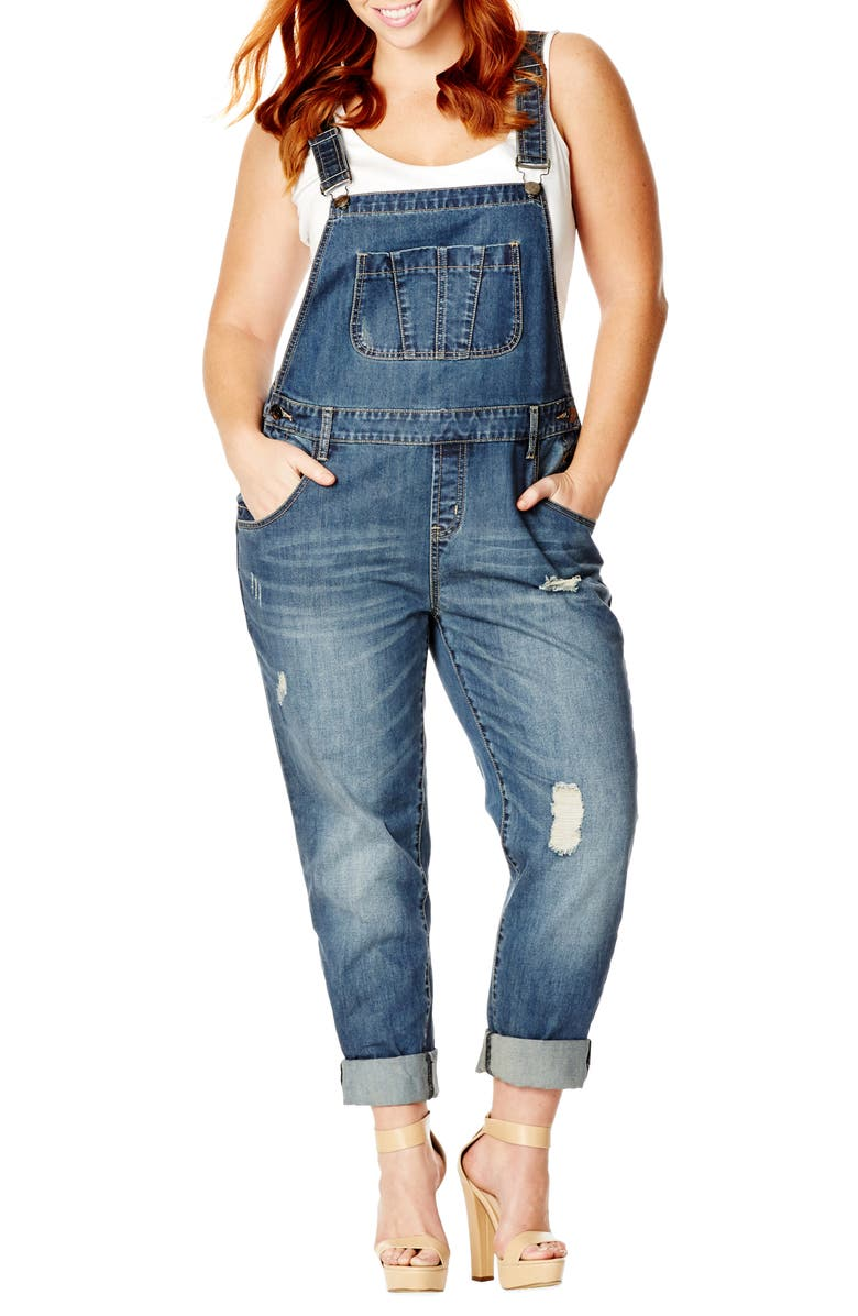 CITY CHIC 'Over It All' Distressed Denim Overalls, Main, color, LIGHT DENIM