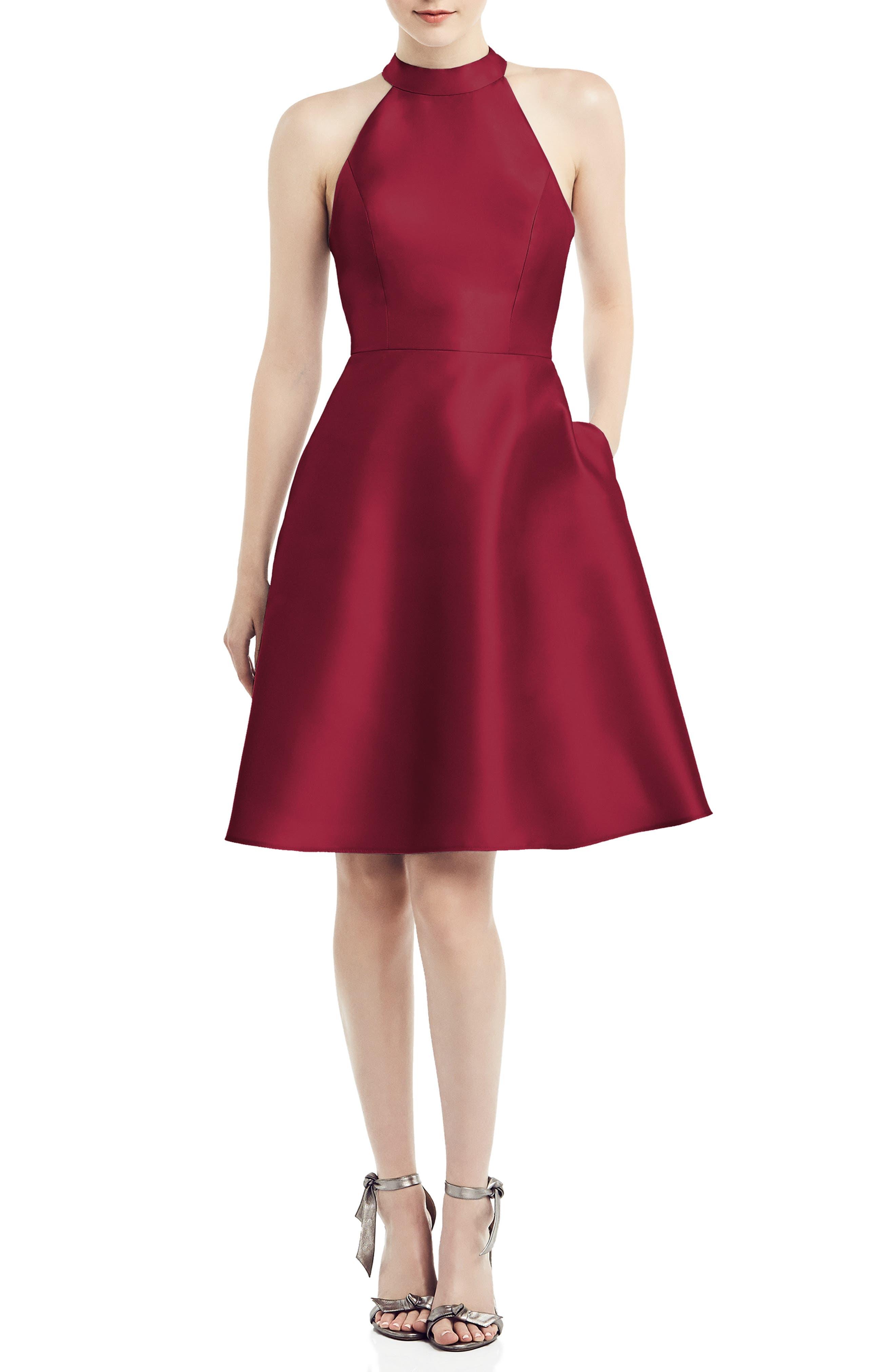 Halter Style Satin Twill Cocktail Dress