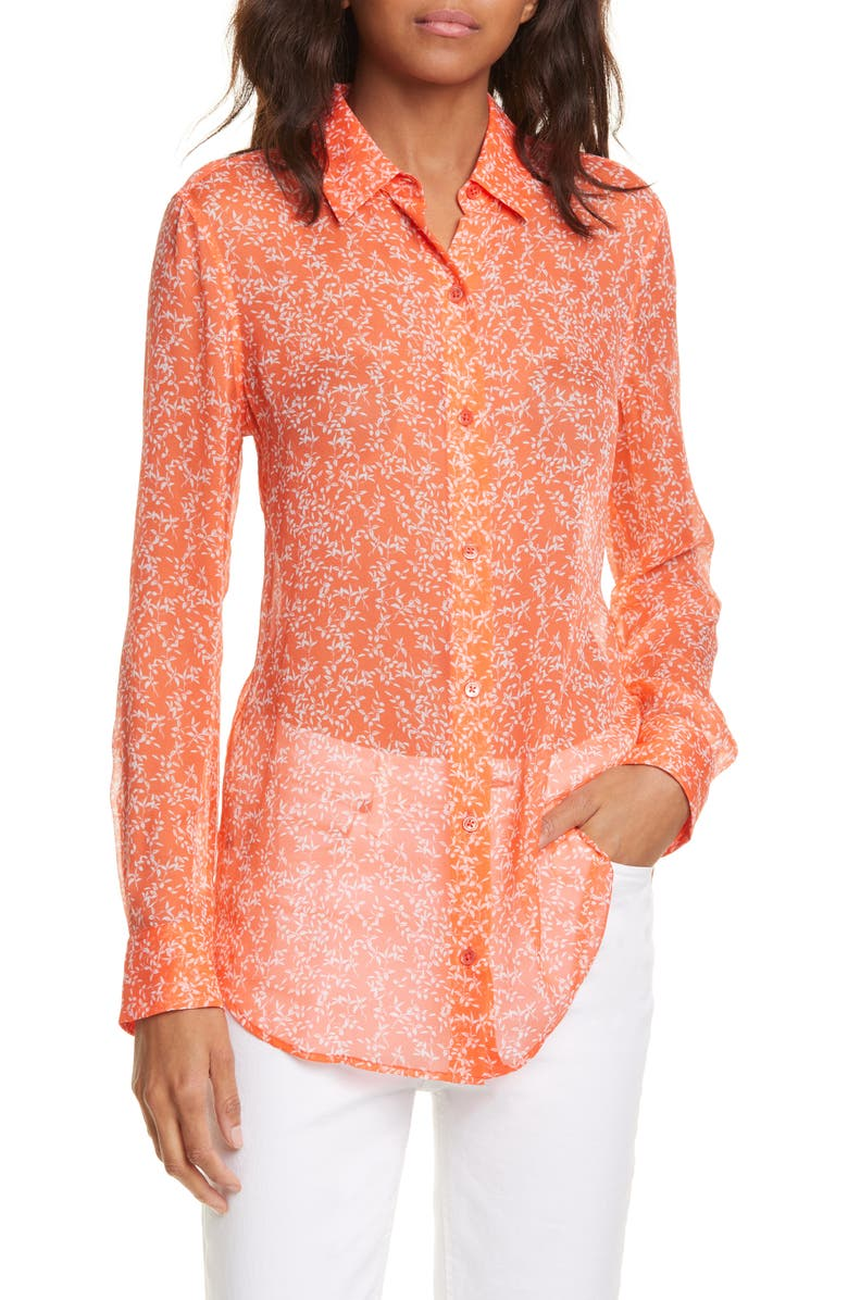 EQUIPMENT Essential Silk Chiffon Button-Up Shirt, Main, color, HOT CORAL BRIGHT WHITE