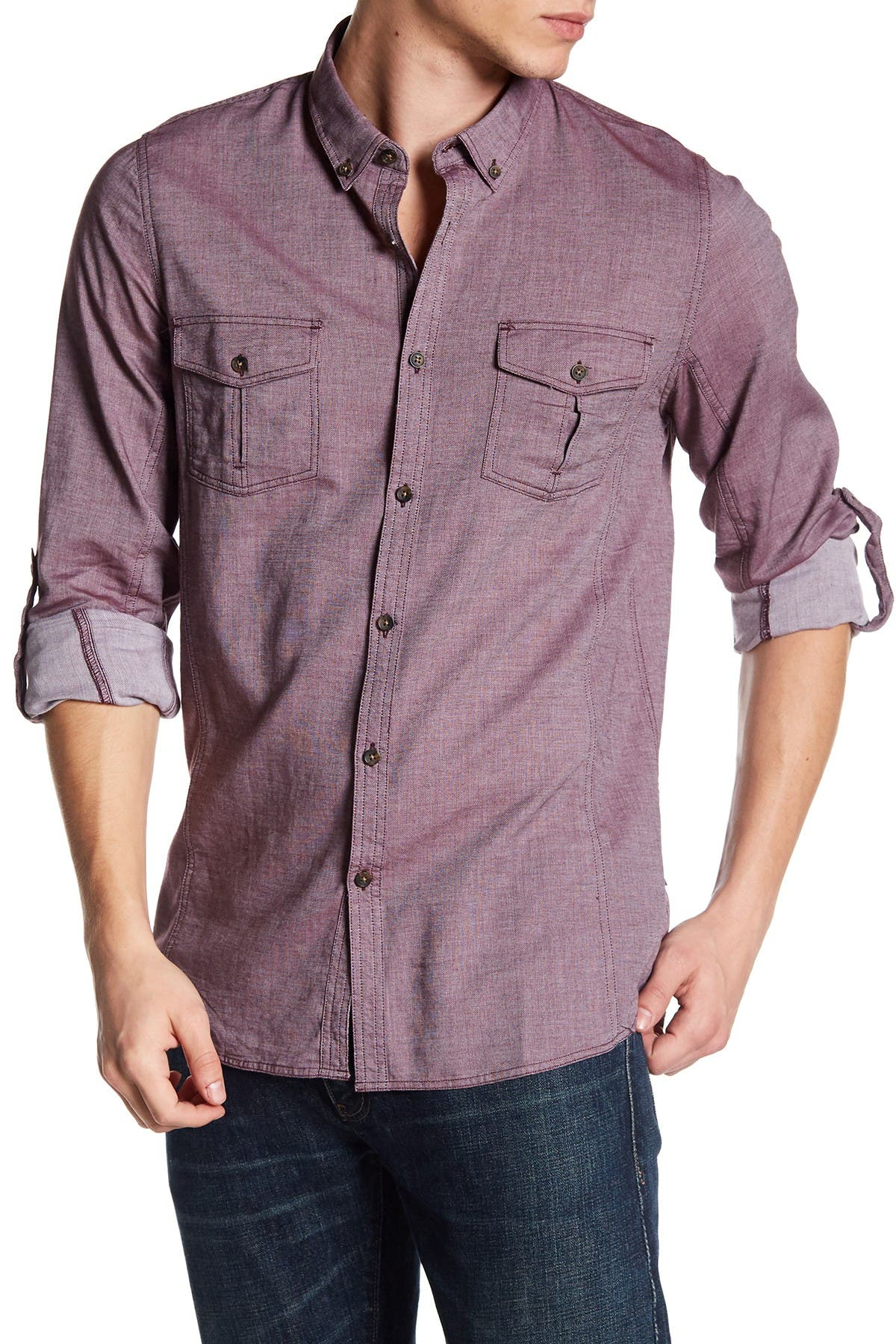 Image of Indigo Star Collared Long Sleeve Woven Tailored Fit Shirt