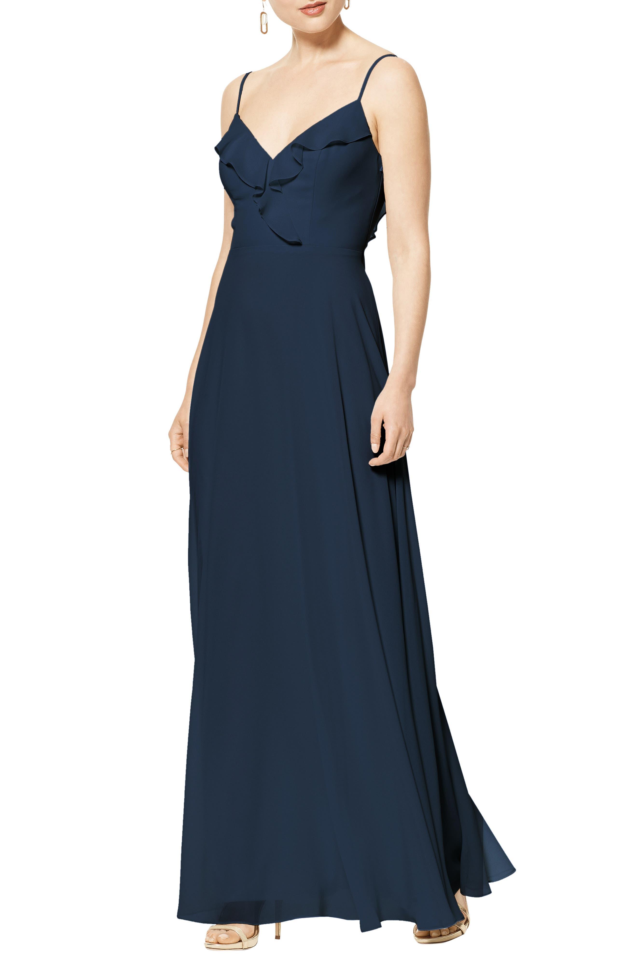 Lattice V-Back Chiffon Gown