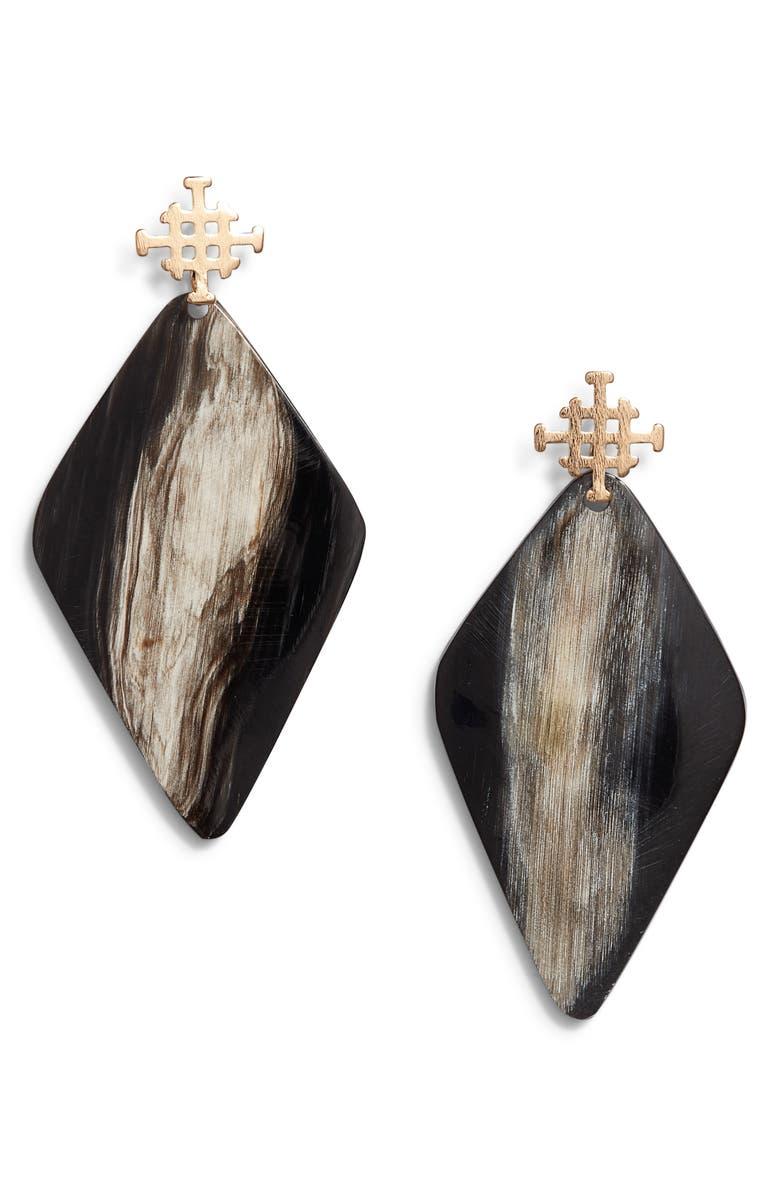 AKOLA Asha Drop Earrings, Main, color, BLACK