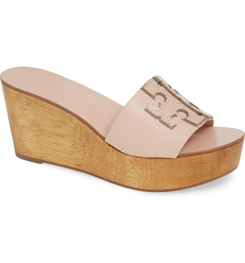 TORY BURCH Ines Wedge Slide Sandal, Main, color, SEA SHELL PINK / SILVER