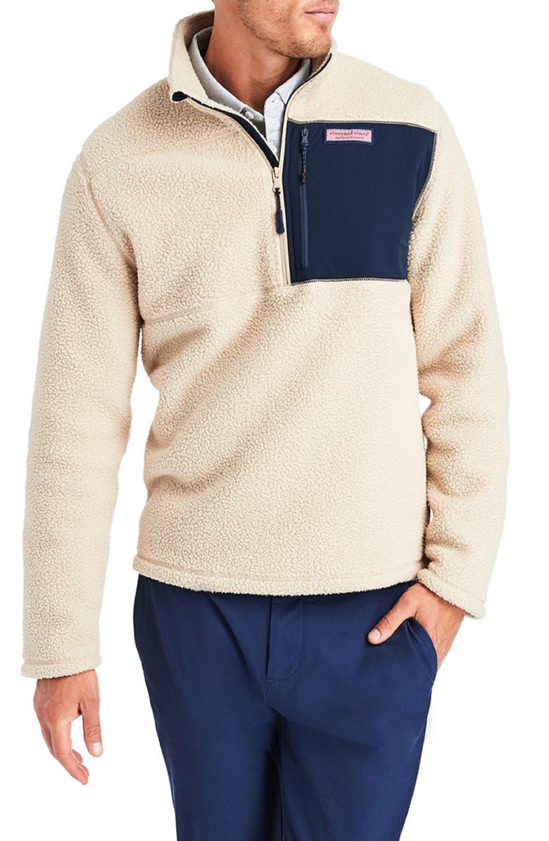 VINEYARD VINES Stretch Fleece Half Zip Pullover, Main, color, CAMEL