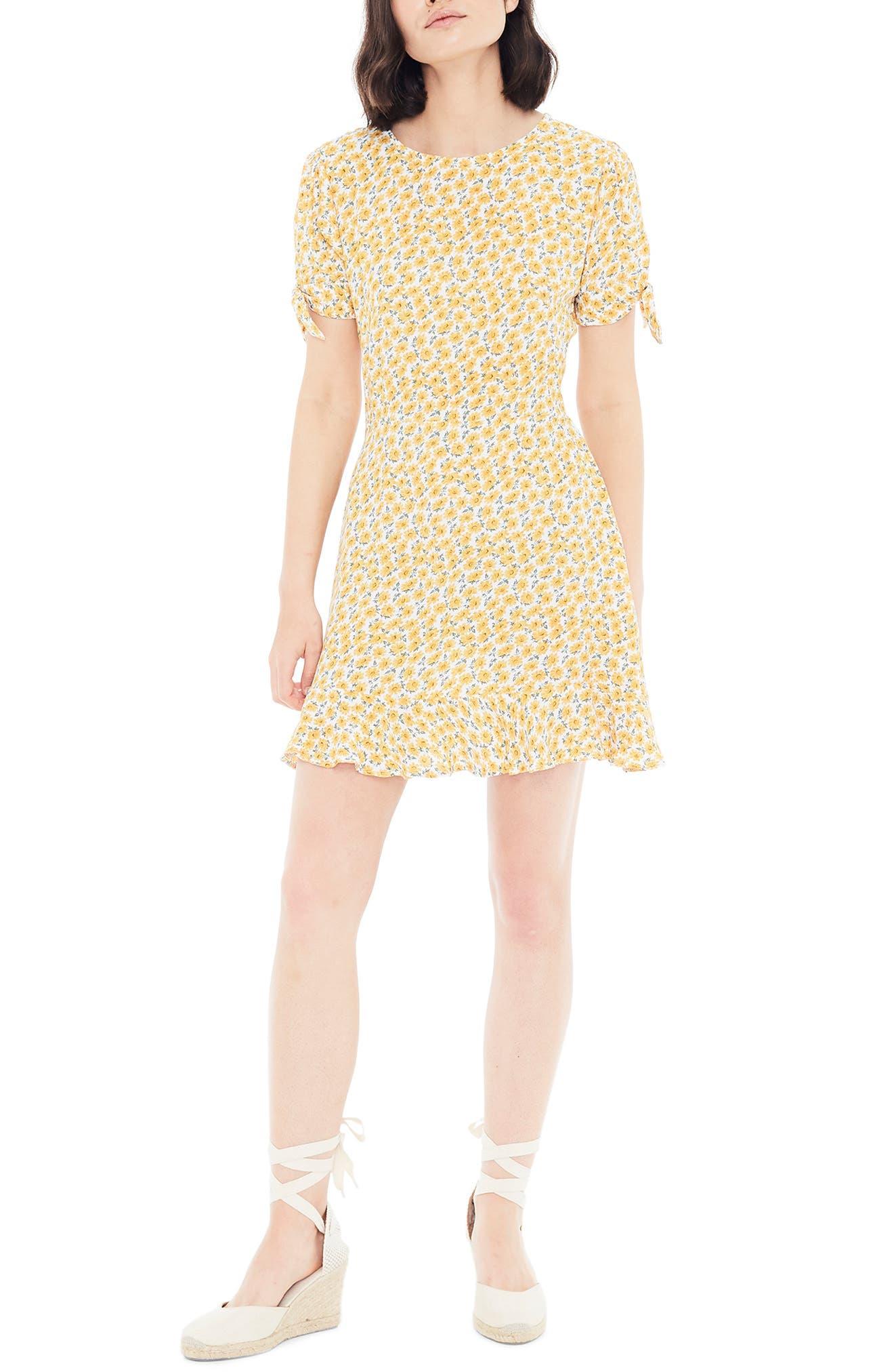 Daphne Tie Sleeve Minidress, Main, color, MARGUERITE FLORAL - YELLOW
