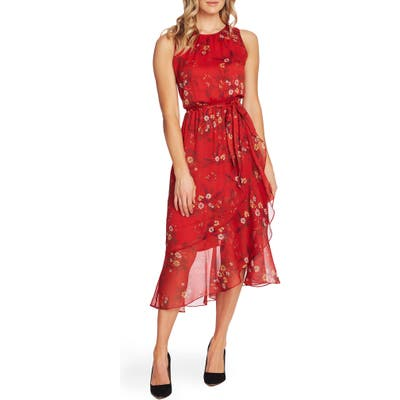 Vince Camuto Floral Belted Ruffle Chiffon Dress, Red
