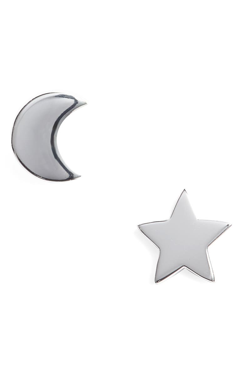 ARGENTO VIVO Moon & Star Stud Earrings, Main, color, SILVER