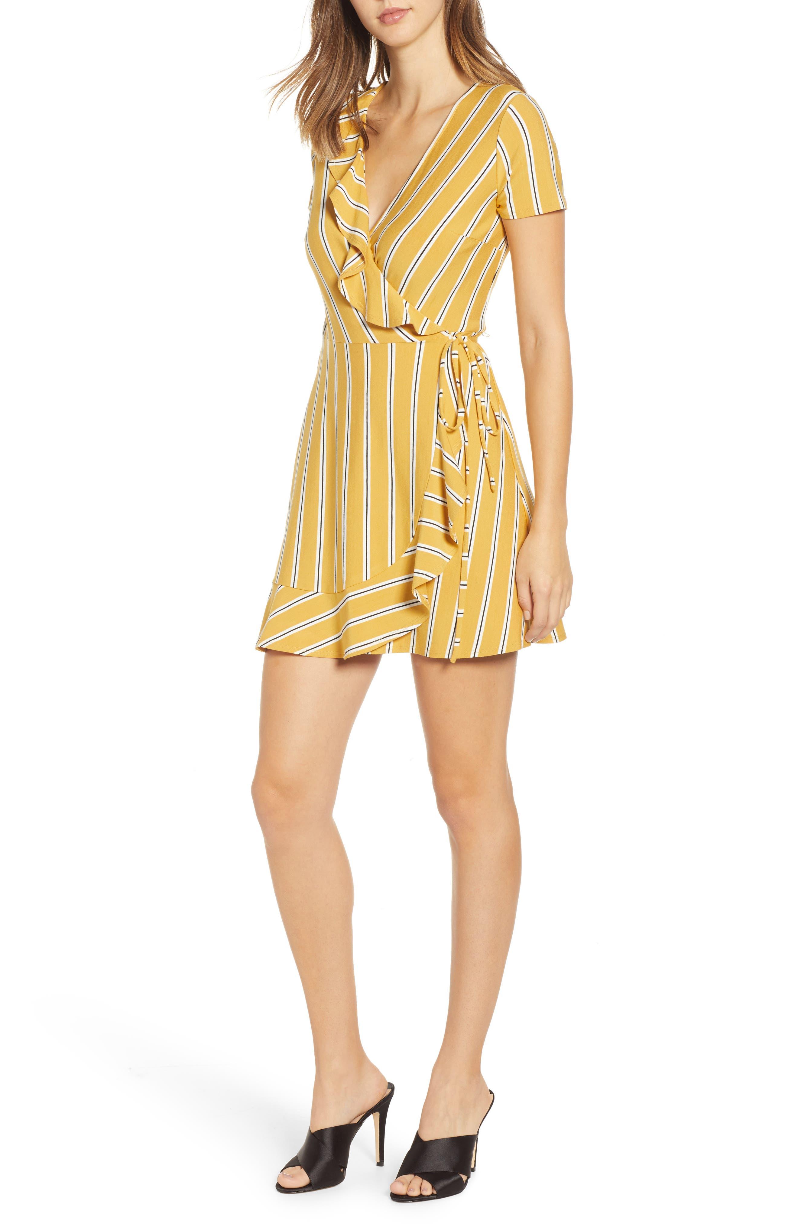 Speechless Stripe Ruffle Wrap Dress, Yellow