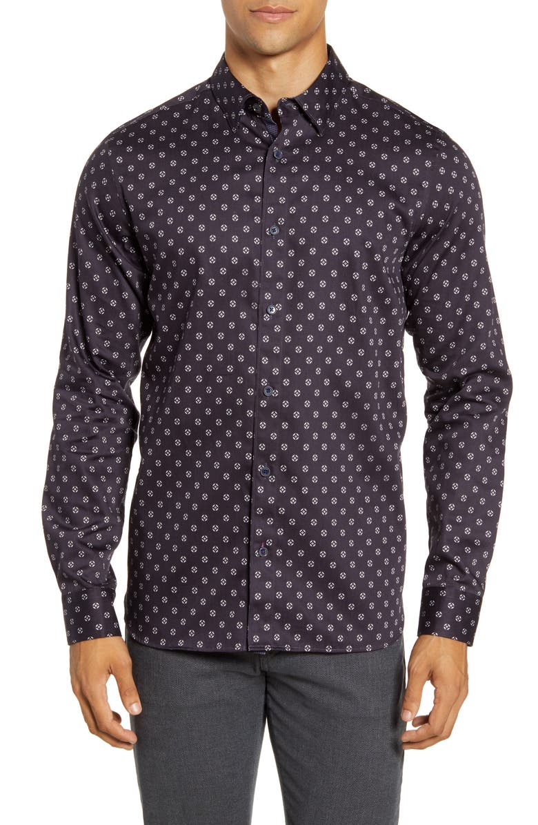 TED BAKER LONDON Fille Slim Fit Circle Geo Print Button-Up Shirt, Main, color, NAVY