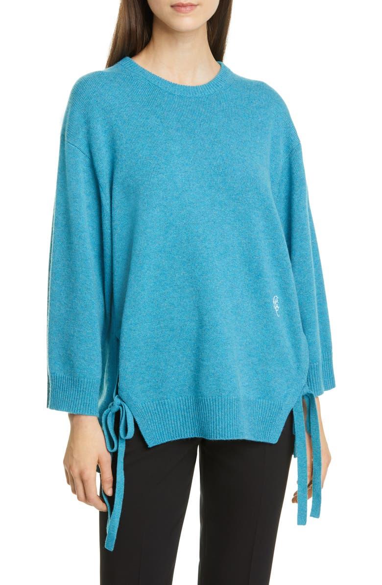 CHLOÉ Split Hem Cashmere Sweater, Main, color, MYSTERIOUS BLUE