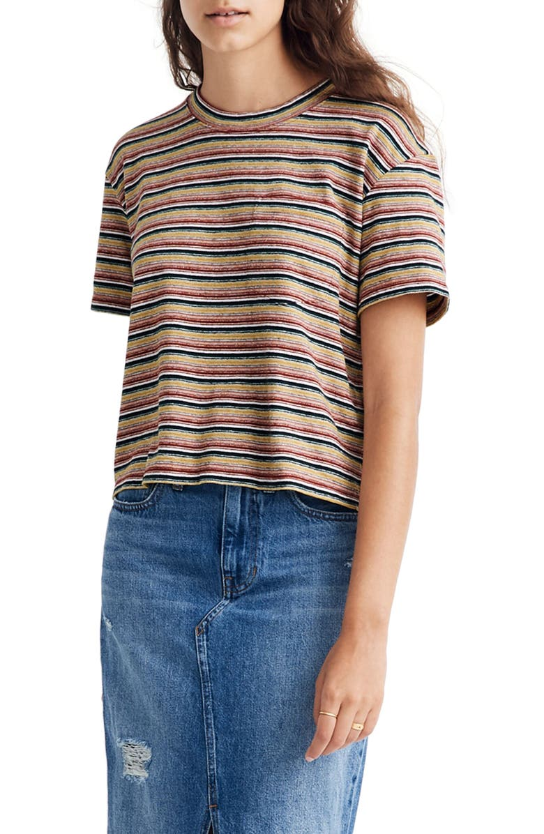 MADEWELL Textured Easy Crop Tee in Stripe, Main, color, SMOKY SPRUCE CRONUT STRIPE
