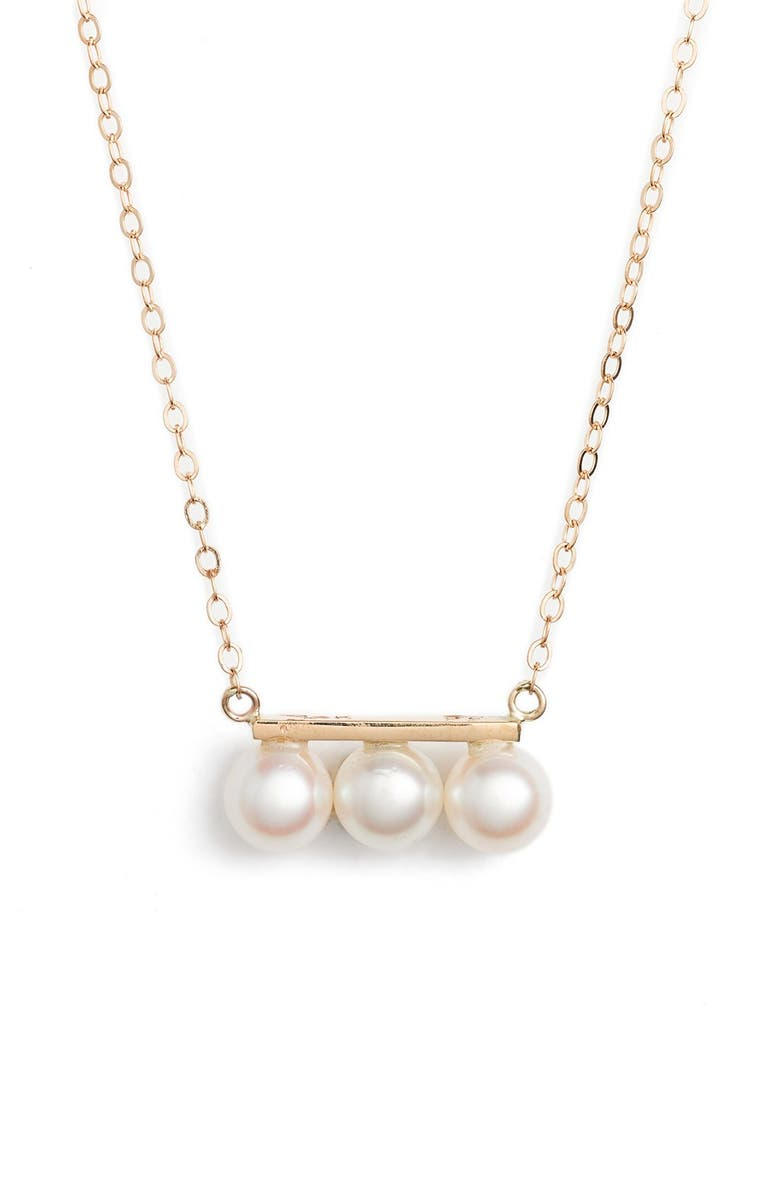 POPPY FINCH Triple Pearl Pendant Necklace, Main, color, YELLOW GOLD/ WHITE PEARL