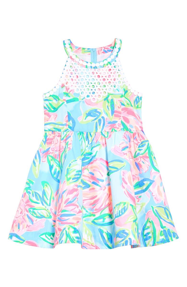LILLY PULITZER<SUP>®</SUP> Little Kinley Dress, Main, color, MULTI TOTALLY BLOSSOM