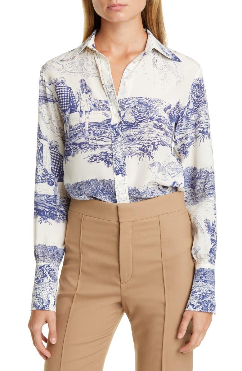 CHLOÉ Toile Print Silk Shirt, Main, color, WHITE - BLUE 1