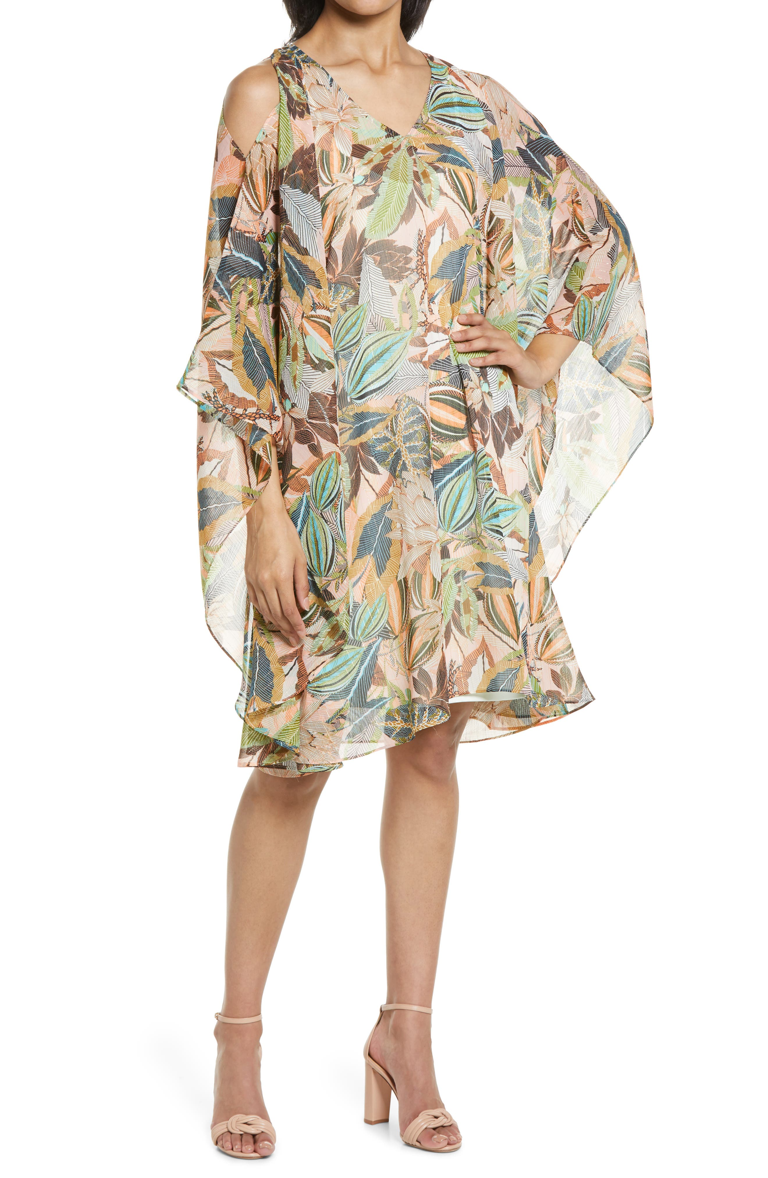 Cold Shoulder Chiffon Cover-Up Caftan