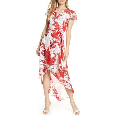 Julia Jordan High/low Floral Wrap Dress, Red