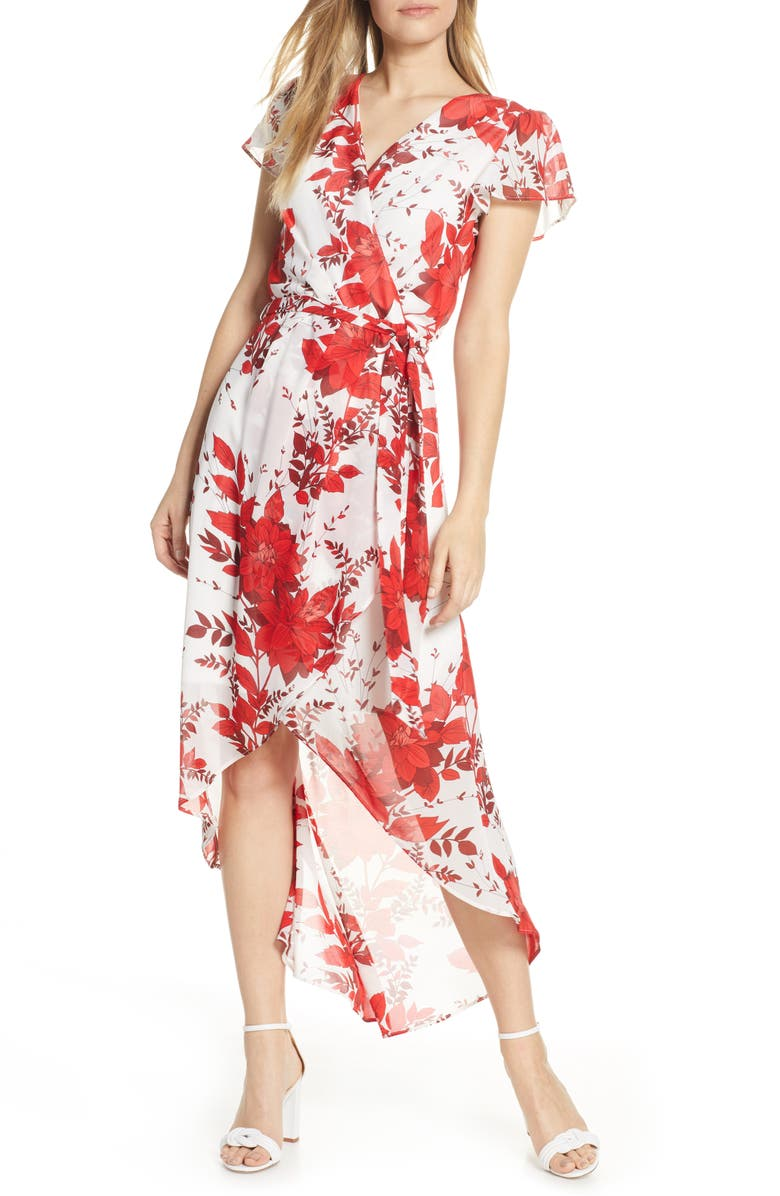 JULIA JORDAN High/Low Floral Wrap Dress, Main, color, IVORY/ RED