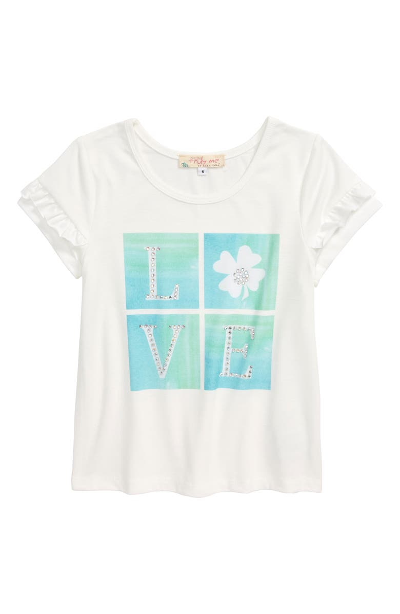 TRULY ME Crystal Love Graphic Tee, Main, color, WHITE MULTI