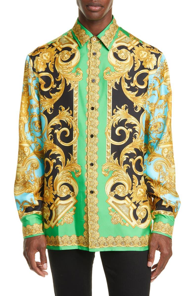 VERSACE Baroque Print Button-Up Silk Shirt, Main, color, GREEN/LIGHT BLUE