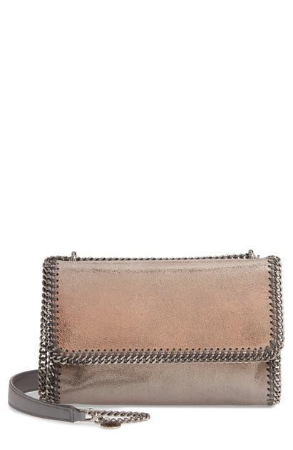 Stella Mccartney Falabella Shaggy Deer Metallic Faux Leather Shoulder Bag - Metallic In Gold/ Grey