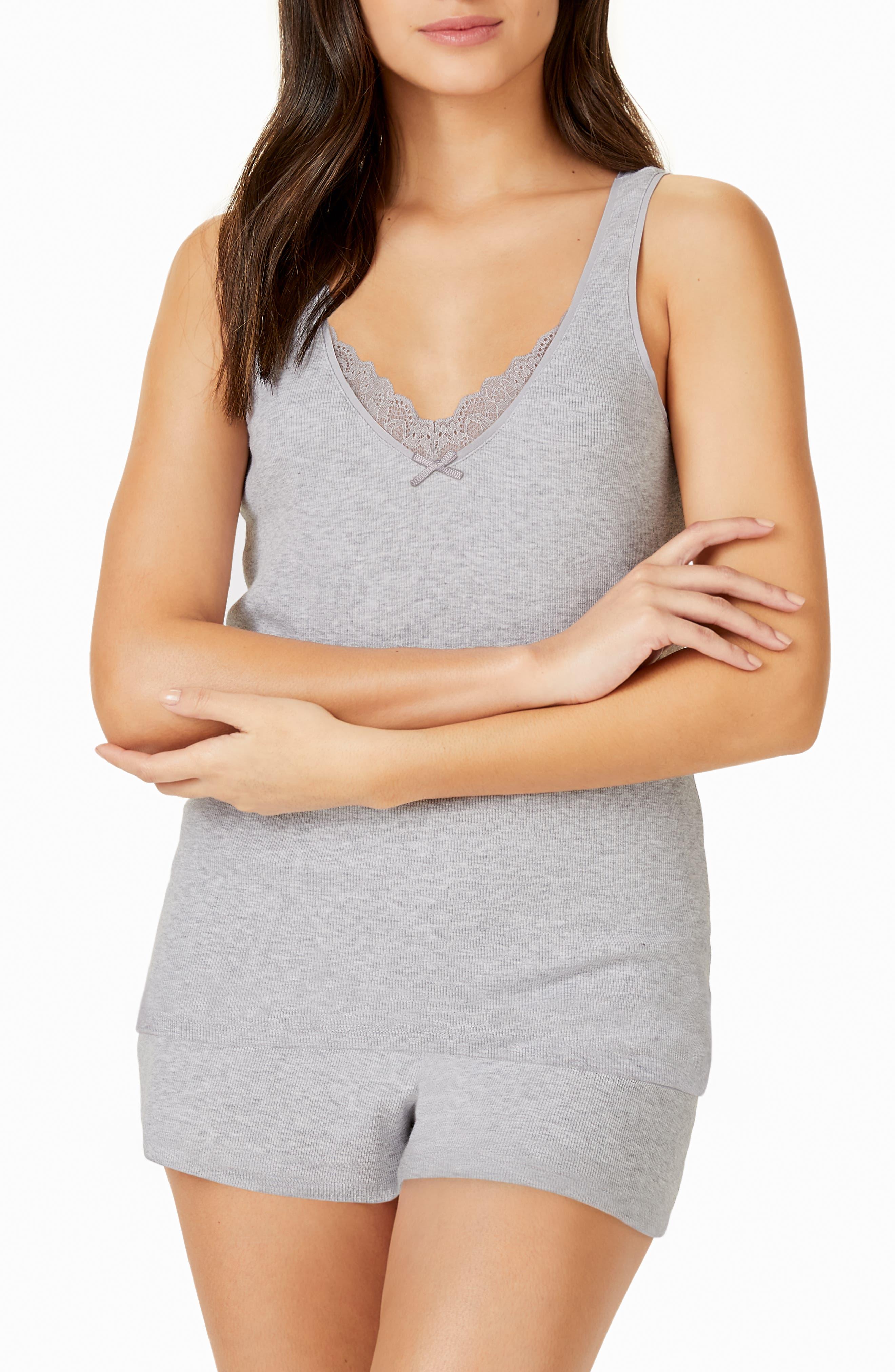 The White Company Ribbed Short Pajamas, Grey