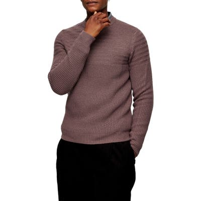 Topman Mixed Stitch Crewneck Sweater, Purple