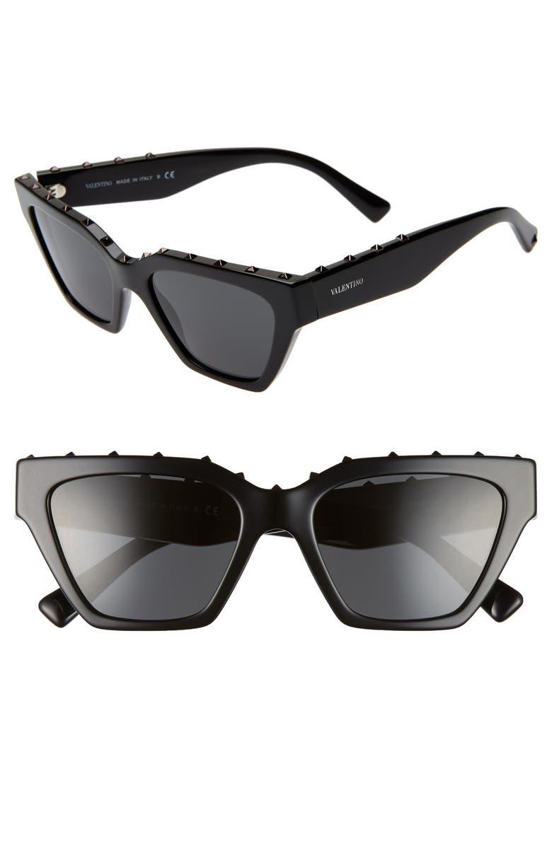 VALENTINO 53mm Rockstud Cat Eye Sunglasses, Main, color, 001