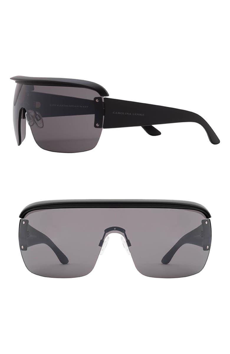 CAROLINA LEMKE x KKW Nirvana 137mm Shield Sunglasses, Main, color, 001