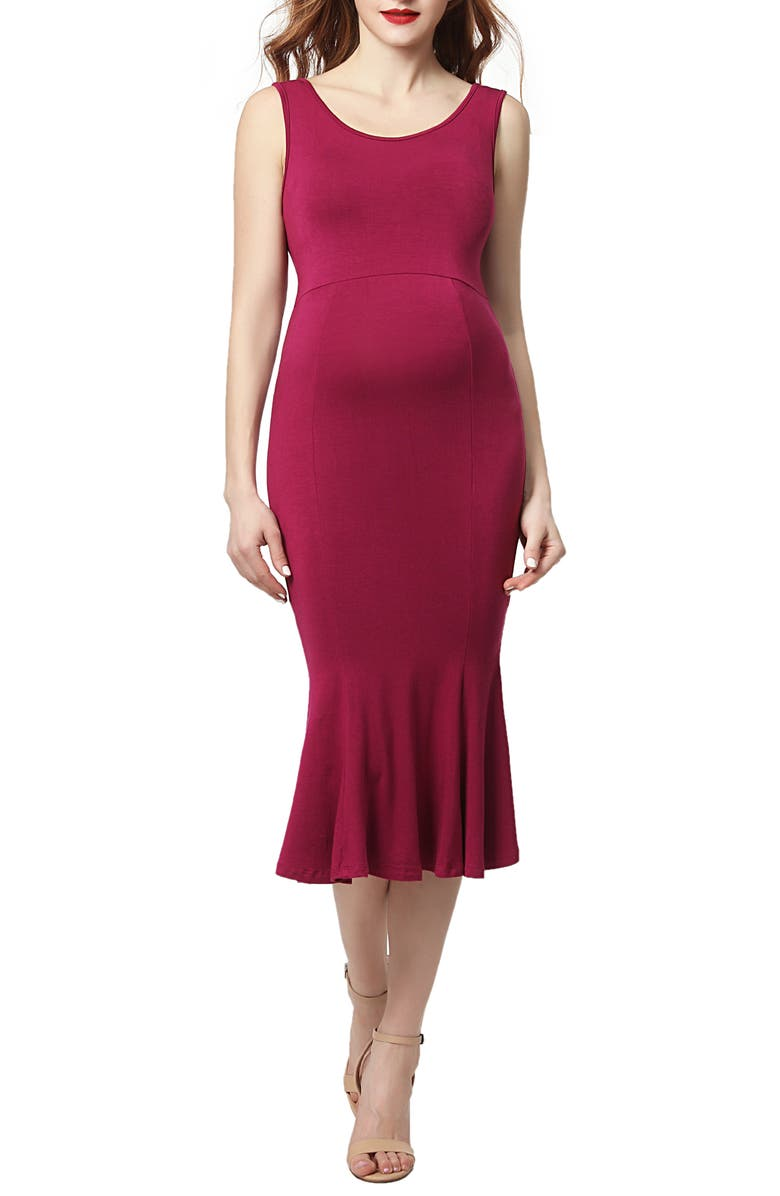 KIMI AND KAI Bria Maternity Mermaid Midi Dress, Main, color, BERRY
